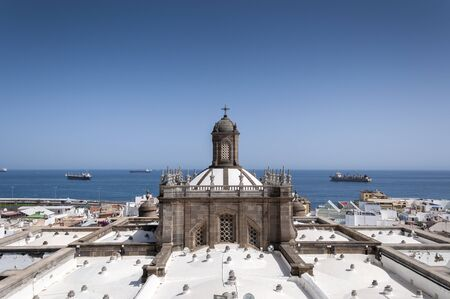 Views of the roof of the Cathedral of Santa Ana from the bell tower, in Las Palmas de Gran Canaria, Canary Islands, Spain. It is considered the most important monument of Canarian religious architecture