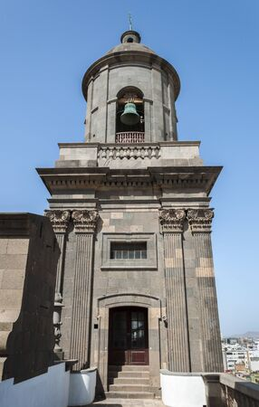 Close-up of the belfry of the Cathedral of Santa Ana, in Las Palmas de Gran Canaria, Canary Islands, Spain. It is considered the most important monument of Canarian religious architecture