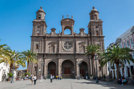 LAS PALMAS DE GRAN CANARIA, SPAIN - FEBRUARY 17, 2017: Views of the Cathedral of Santa Ana, in Las Palmas, Canary Islands, Spain. It is considered the most important monument of Canarian religious architecture