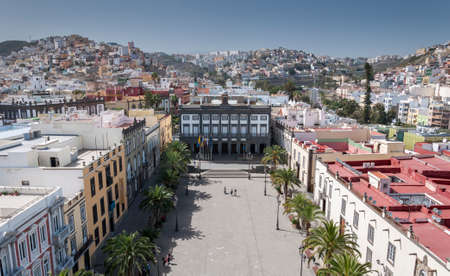 LAS PALMAS DE GRAN CANARIA, SPAIN - FEBRUARY 17, 2017: Views of the city of Las Palmas de Gran Canaria, Canary Islands, Spain, from the belltower of the Cathedral of Santa Ana, in Las Palmas, Canary Islands. It can be seen the City hall in Santa Ana squar