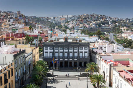 LAS PALMAS DE GRAN CANARIA - FEBRUARY 17, 2017: Views of the city of Las Palmas de Gran Canaria, Canary Islands, Spain, from the belltower of the Cathedral of Santa Ana, in Las Palmas, Canary Islands, Spain, on February 17, 2017. It can be seen the City h Editorial