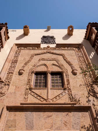 LAS PALMAS DE GRAN CANARIA - FEBRUARY 17, 2017: Close-up of the door of the Casa de Colon, Columbus's House, in Las Palmas, Canary Islands, Spain, on February 17, 2017. It can be seen the Front of the small square of the poplars, Poplar square doorway Editorial