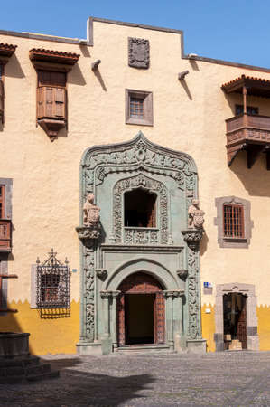 LAS PALMAS DE GRAN CANARIA - FEBRUARY 17, 2017: Facade of the Casa de Colon, Columbus's House, in Las Palmas, Canary Islands, Spain, on February 17, 2017. It can be seen the Portada verde, Green Doorway.