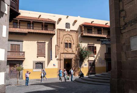 LAS PALMAS DE GRAN CANARIA - FEBRUARY 17, 2017: Facade of the Casa de Colon, Columbus's House, in Las Palmas, Canary Islands, Spain, on February 17, 2017. It can be seen the Cover of the Plaza de los Alamos, Poplar square doorway