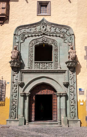 LAS PALMAS DE GRAN CANARIA - FEBRUARY 17, 2017: Close-up of the door of the Casa de Colon, Columbus's House, in Las Palmas, Canary Islands, Spain, on February 17, 2017. It can be seen the Portada verde, Green Doorway. Editorial