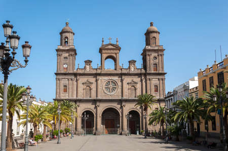 LAS PALMAS DE GRAN CANARIA - FEBRUARY 17, 2017: Views of the Cathedral of Santa Ana, in Las Palmas, Canary Islands, Spain, on February 17, 2017. It is considered the most important monument of Canarian religious architecture