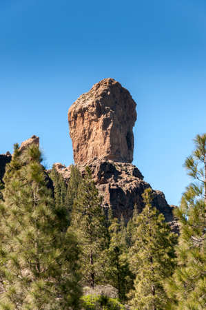 Views of Roque Nublo peak (Clouded rock, Rock in the clouds), in Nublo Rural Park, in the interior of the Gran Canaria Island, Canary Islands, Spain Stock Photo