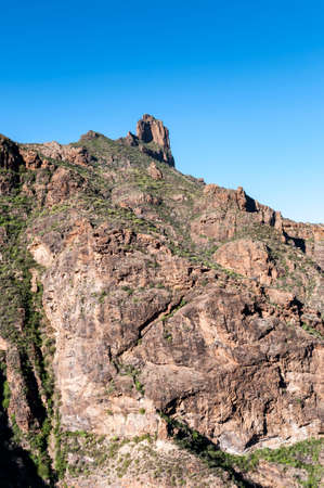 Mountainous landscape in the interior of the Gran Canaria Island, Canary Islands, Spain. Photo taken from de town of Tejeda Stock Photo