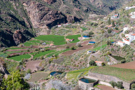 Irrigation ponds in terraces. Photo taken in the town of Tejeda, in the interior of the Gran Canaria Island, Canary Islands, Spain