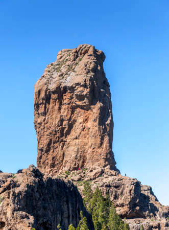 TEJEDA - FEBRUARY 18, 2017: Views of Roque Nublo peak (Clouded rock, Rock in the clouds), in Nublo Rural Park, in the interior of the Gran Canaria Island, Tejeda, Canary Islands, Spain, on February 17, 2017 Editorial