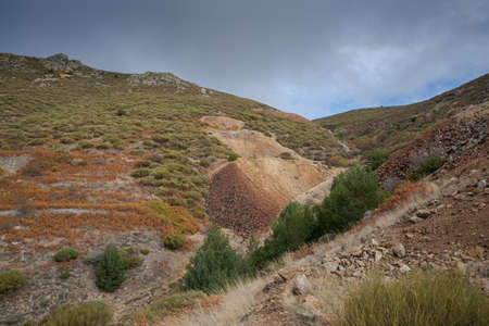 Slag heap in the old silver mine of Bustarviejo, province of Madrid, Spain. The mine was active from the 17th to the 20th century