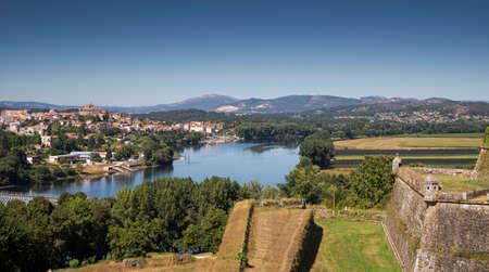 Views of the River Minho from the Fortress of Valenca do Minho, Portugal Stock Photo