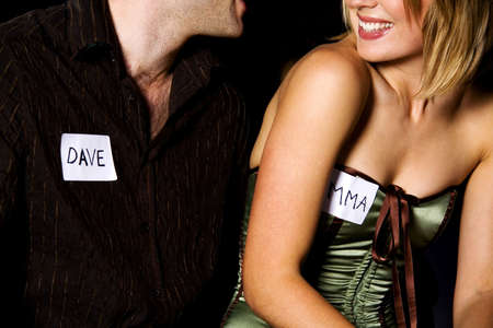 adult dating: Man and woman during speed dating