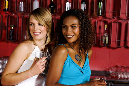 two persons only: Two women at a bar