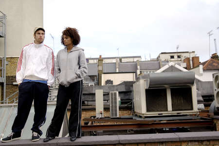 Man and woman at the rooftop