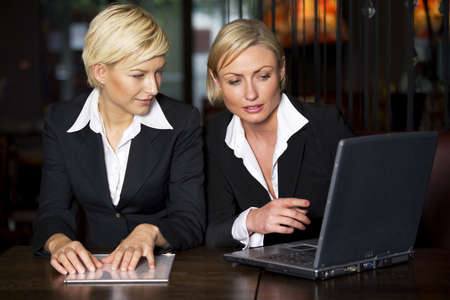 two persons only: Businesswomen having a discussion in a restaurant