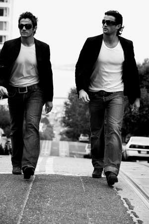 two persons only: Two men walking