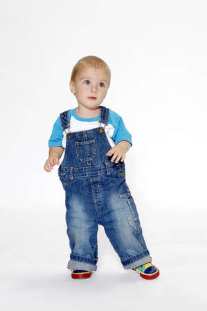 dungarees: Boy wearing bib overall.