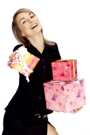 Portrait of woman holding gifts. Stock Photo - 3192175