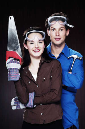 Couple getting ready for house renovation. Stock Photo - 3192180