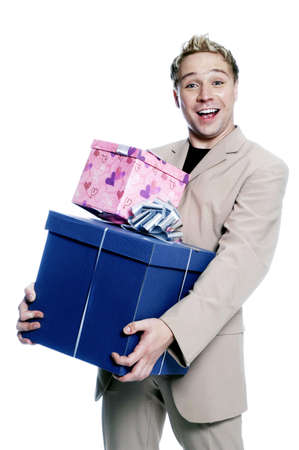 Portrait of man carrying gifts. Stock Photo - 3192258