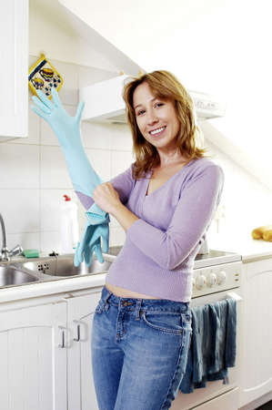 Woman wearing gloves. Stock Photo - 3192303