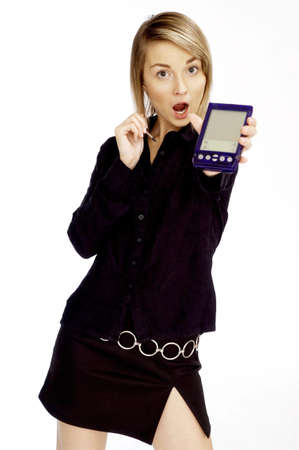 organiser: Businesswoman using PDA. LANG_EVOIMAGES