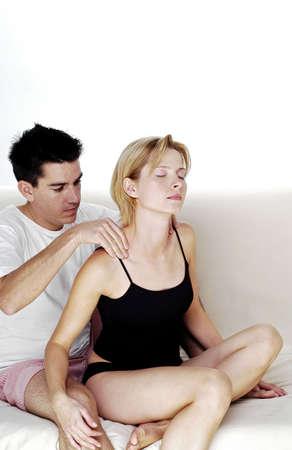 Man giving his girlfriend a shoulder massage. Stock Photo - 3192503