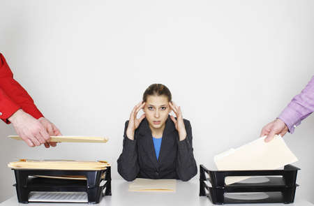 Overworked businesswoman. Stock Photo - 3192556