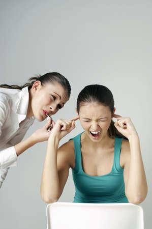 annoyed girl: Annoyed girl screaming.