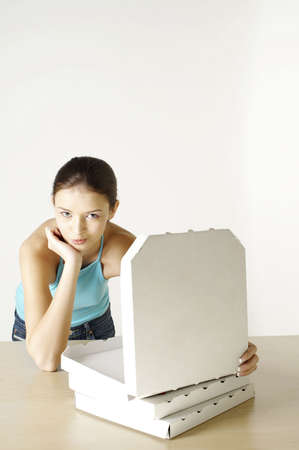 Girl with three boxes of pizza. Stock Photo - 3192592