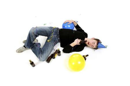 Drunk man sleeping on the floor. Stock Photo - 3192624