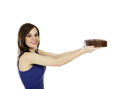Woman holding a cake. Stock Photo - 3192626