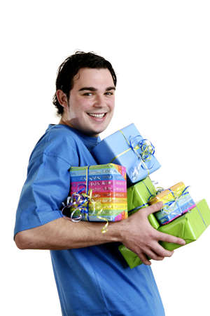 Man carrying a stack of presents.
