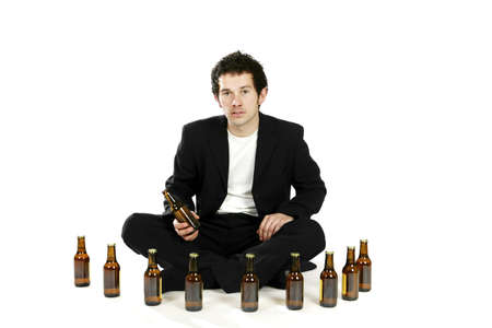 Man arranging beer bottles.