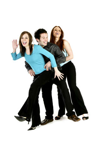 Man and two women dancing. Stock Photo - 3192668