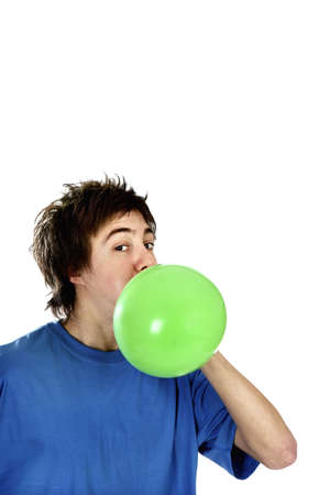 Man blowing a balloon.