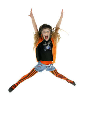 Girl jumping up in joy Stock Photo - 3192903