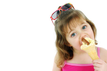eating: Girl eating ice cream