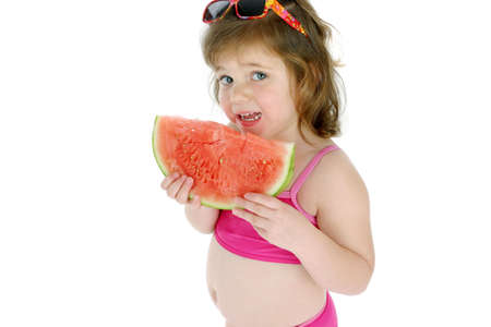Girl eating water-melon Stock Photo - 3192945