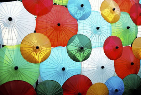 Multi coloured parasols.