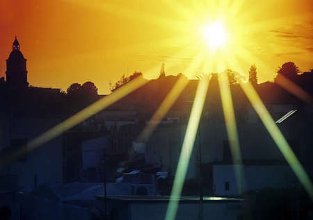 exposición: Panor�mica vista del atardecer en Mykonos ciudad.  LANG_EVOIMAGES