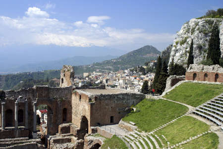 Ruins of old Greek theatre rebuilt in Roman times, Taormina, Sicily, Italy.