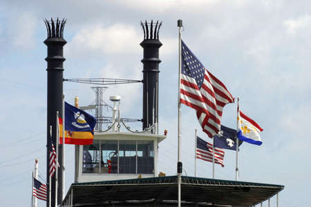 Flags on a ship.