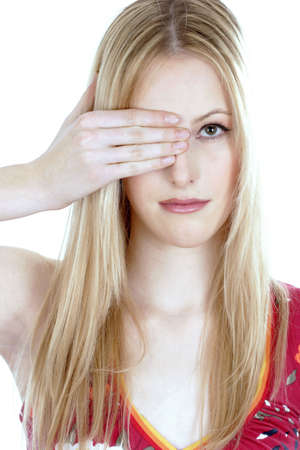 Woman covering one of her eyes. Stock Photo - 3191239
