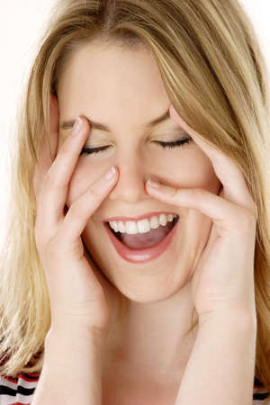 hilarity: Woman laughing joyfully.