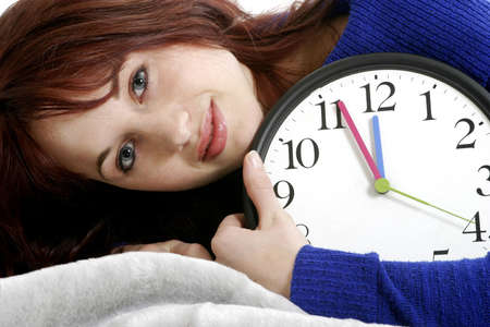 expressive mood: Woman hugging a clock.