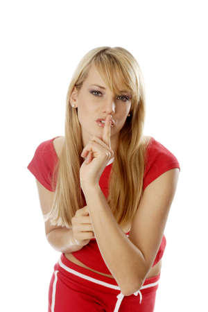 Woman showing a hushing sign. Stock Photo - 3191288