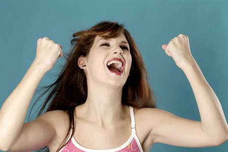 jubilating: Woman jubilating.