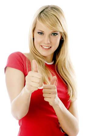expressive mood: Woman showing two thumbs up.
